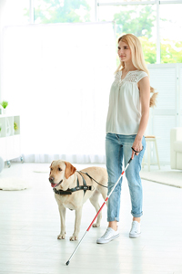 Woman and her guide dog