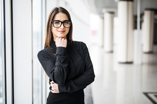 Young professional woman wearing glasses
